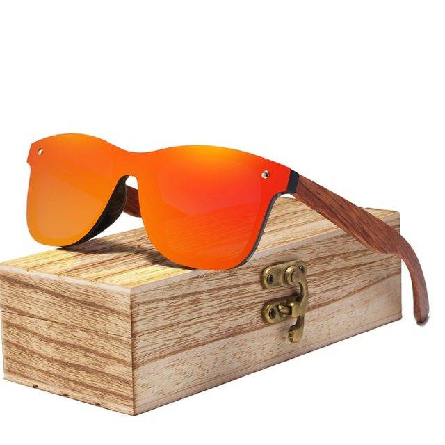 Men's Wooden Frame Rimless Polarized Sunglasses Colorful