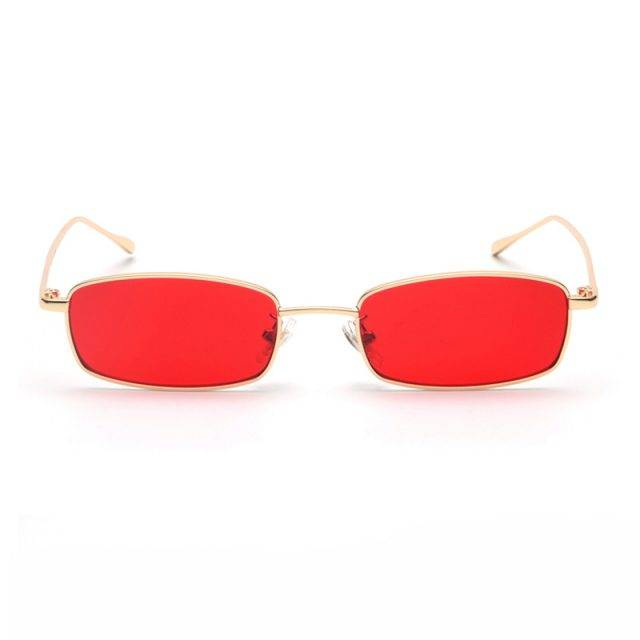 Small Rectangle Sunglasses with Metal Frame Colorful Unique
