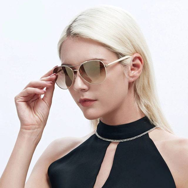 Women's Fashion Brown Sunglasses Glare Resistant & Blue-Blocker Lenses High Fashion