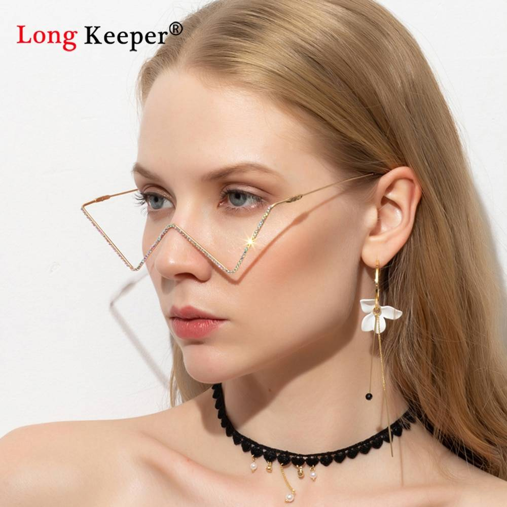 2020 Fashion Shining Crystal Sunglasses Frames Women Triangle Diamond Gold Silver Lensless Half Frame Luxury Diamond Glasses