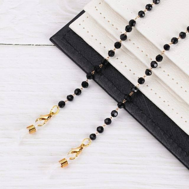 Fashion Acrylic Crystal Glasses Neck Strap Chain Acrylic Crystal Black Beads Eyeglasses Necklace Metal Sunglasses Cord Lanyard
