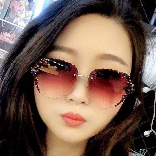 Fashion Rimless Luxury Rhinestone Sunglasses Women 2020 Vintage Bling Sun Glasses Shades for Women Gafas De Sol Mujer Uv400