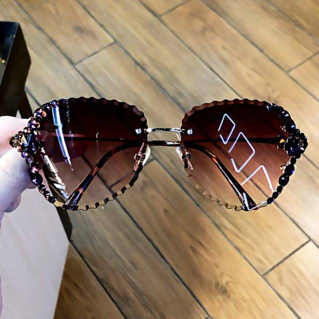 Fashion Rimless Luxury Rhinestone Sunglasses Women 2020 Vintage Bling Sun Glasses Shades for Women Gafas De Sol Mujer Uv400 Lenses Color: PURPLE