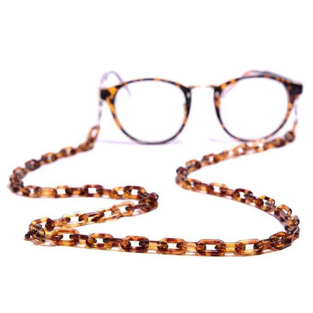 MOON GIRL Leopard Acrylic Sunglasses Chain Chic Womens Anti Slip Reading Glasses Eyewears Cord Holder Neck Strap Lanyard 72cm